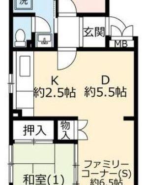 UR賃貸「グリーンヒル鴨志田中央」2号棟208・2SDK